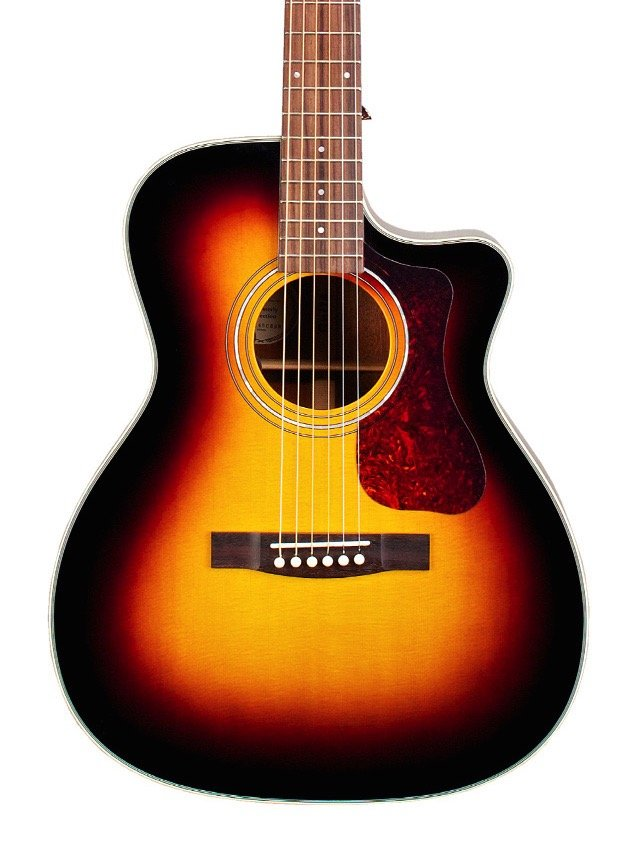 Guild OM-140CE Acoustic-Electric Solid Sitka Spruce top, Solid Mahogany back & sides - Sunburst w/ Deluxe Case