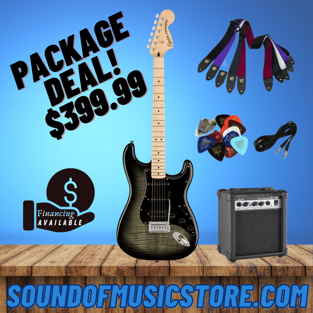 Squier Affinity Series Stratocaster FMT HSS - Black Burst Package Deal With Amplifier, Cable, Strap, and Picks