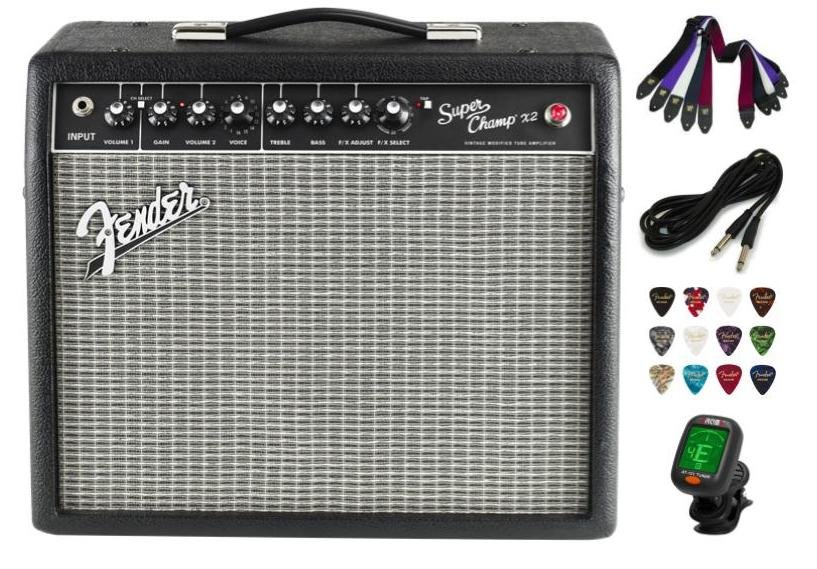 Add An Amp Deal Package with Fender Frontman 10G Electric Guitar Amplifier, Clip On Tuner, Cable, Strap, and Picks