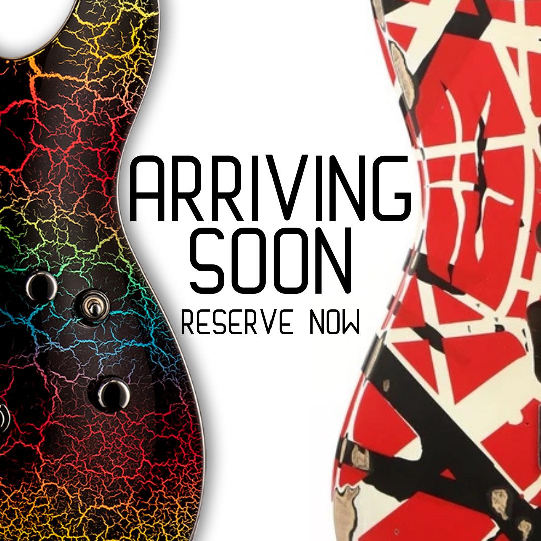 Arriving Soon New Guitars Pre-Order Now! EVH Frankie ESP Rainbow Crackle