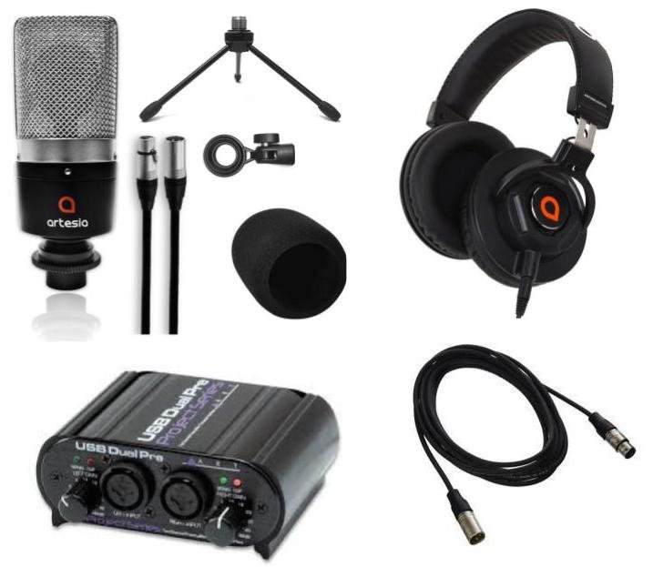 Artesia Pro AMC-10 Studio Condenser Microphone Package with Interface, Headphones, Stand and Cable