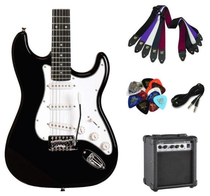 Austin AST100BLK Classic Double Cutaway Electric Guitar - Black- Package with Amplifier, Cable, Strap and Picks