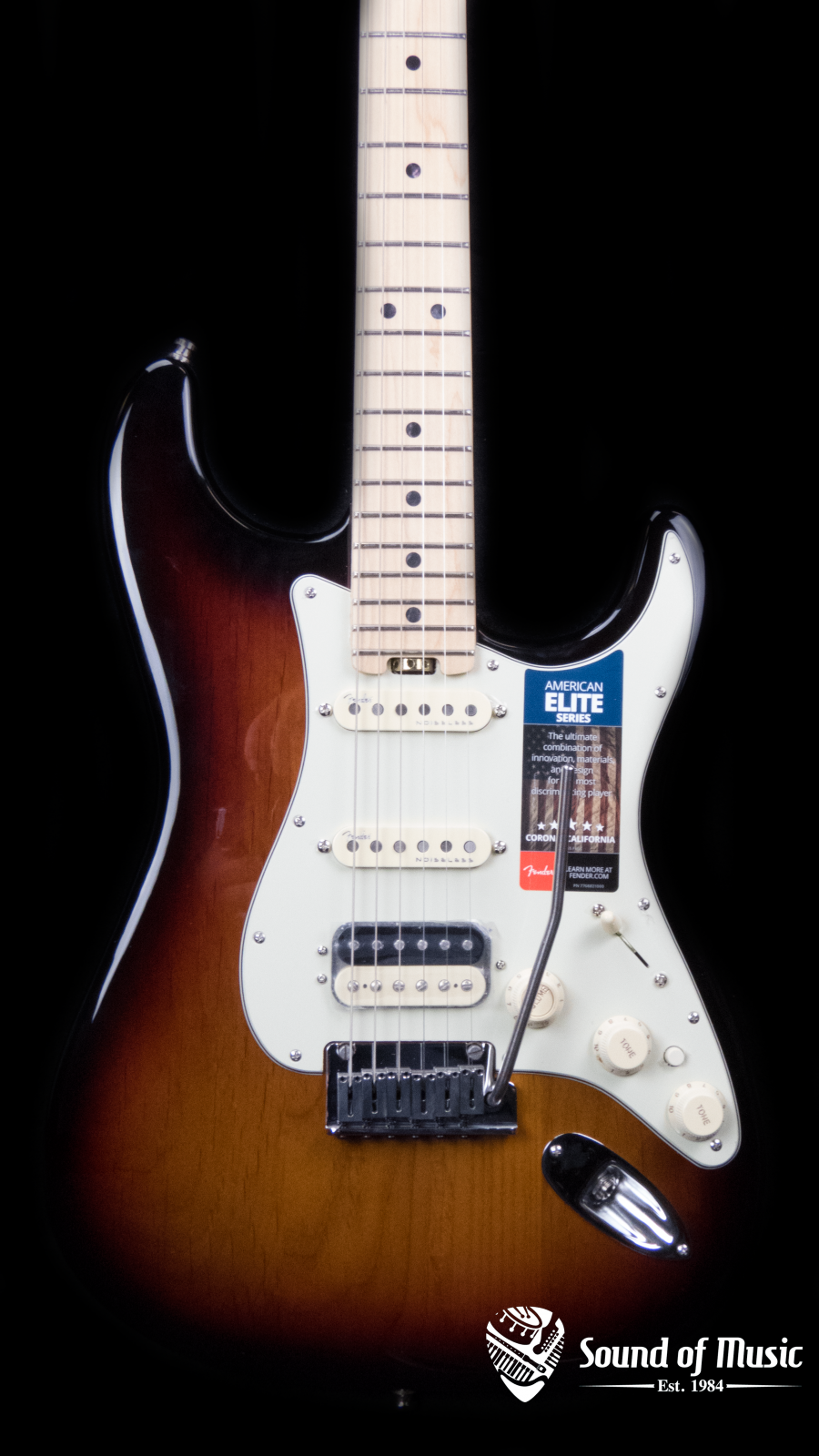 Fender American Elite Stratocaster HSS ShawBucker, Maple Fingerboard, 3-Color Sunburst
