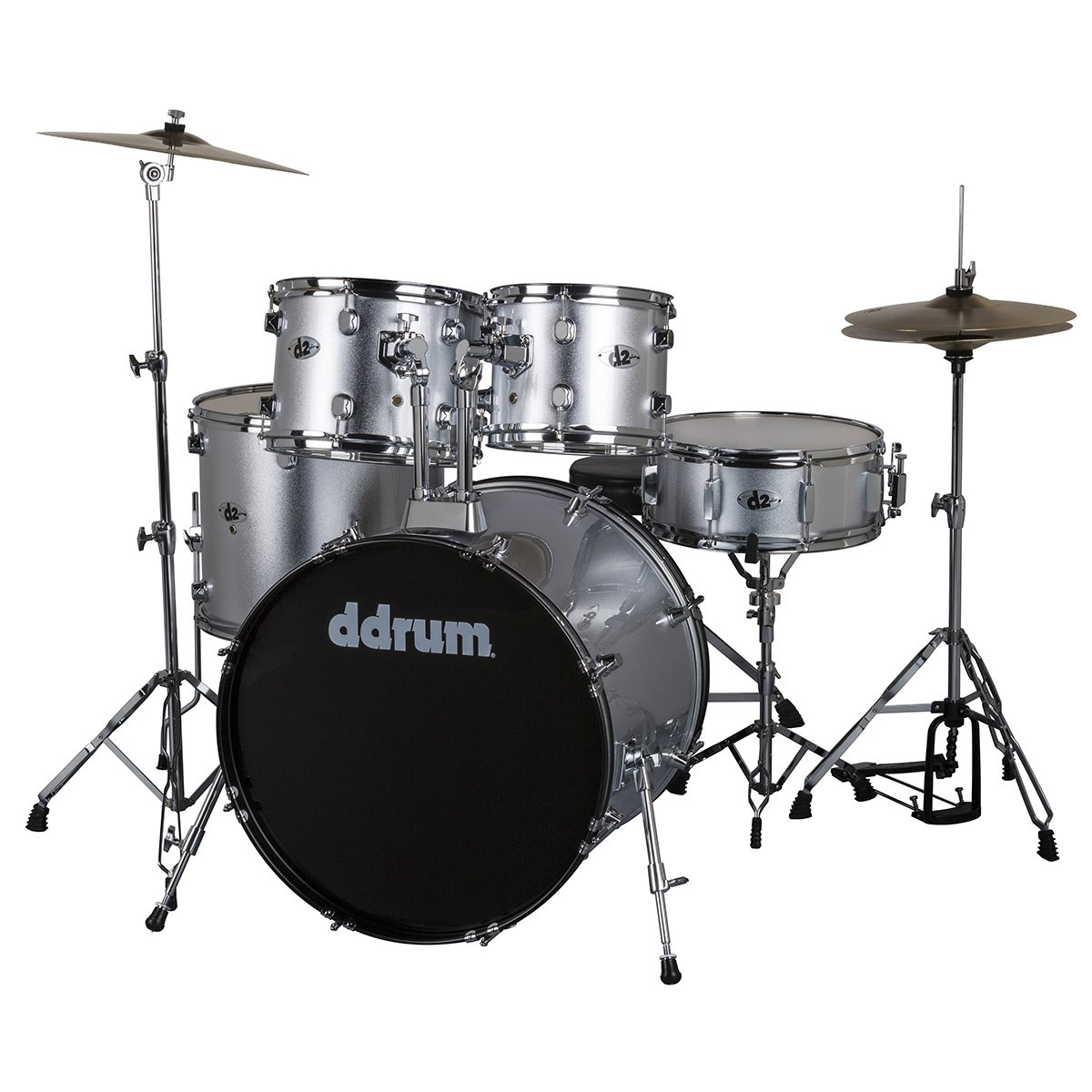 DDRUM D2 Drum Set 5 pc Complete with Hardware, Cymbals, Sticks, Throne - Silver Sparkle