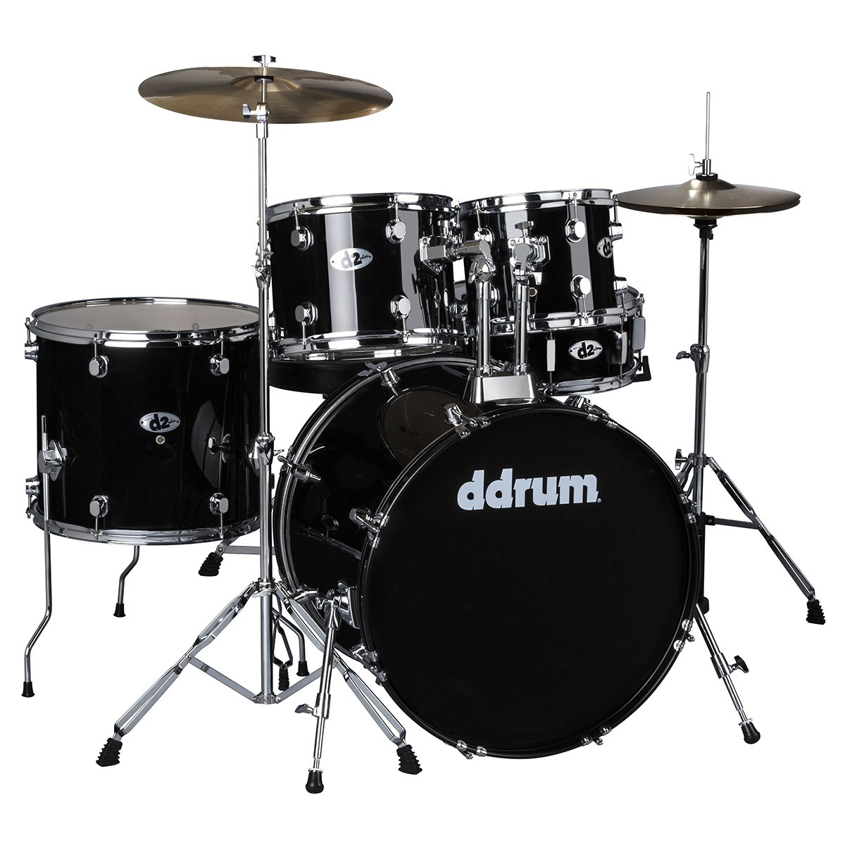 DDRUM D2 Drum Set 5 pc Complete with Hardware, Cymbals, Sticks, Throne - Midnight Black