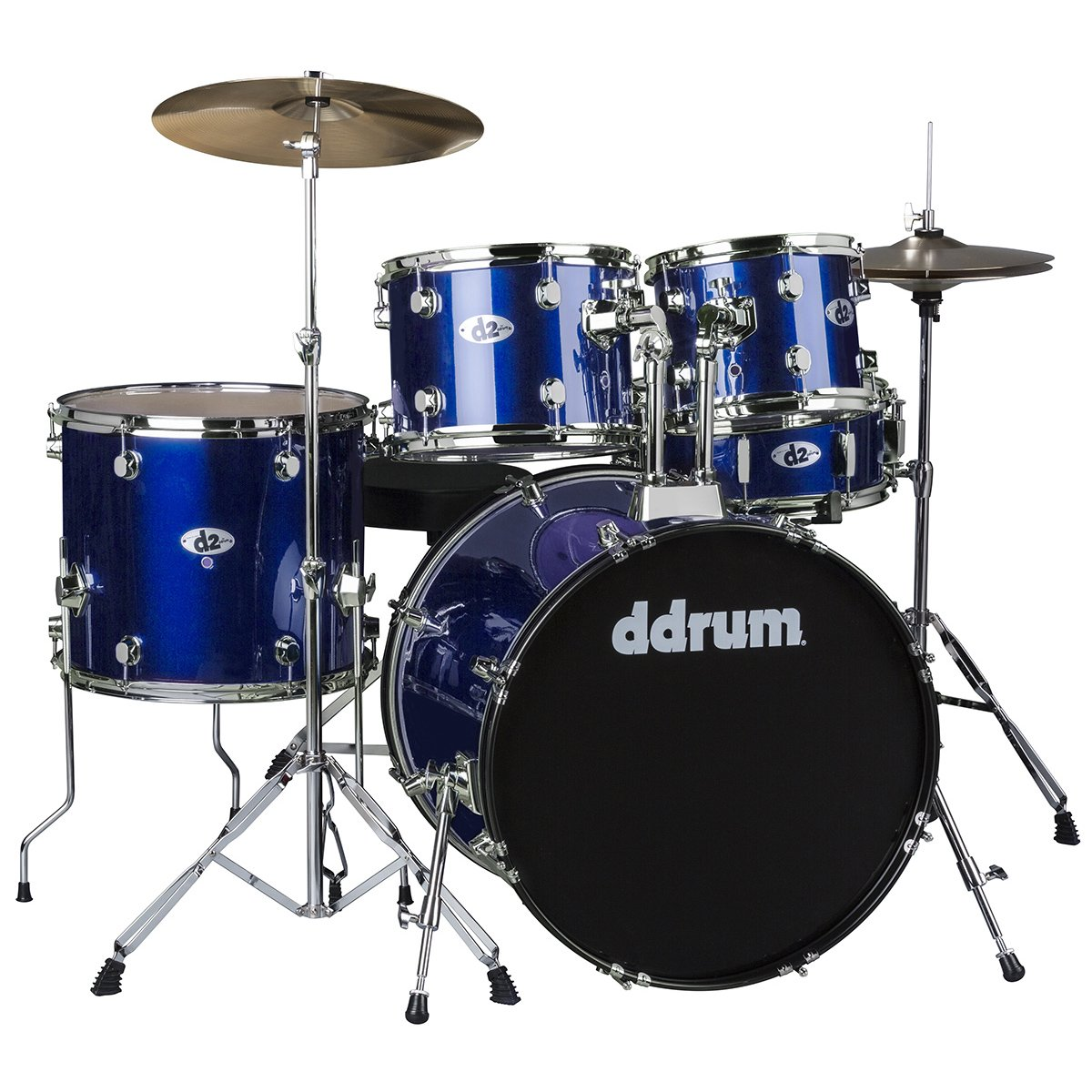 DDRUM D2 Drum Set 5 pc Complete with Hardware, Cymbals, Sticks, Throne - Police Blue