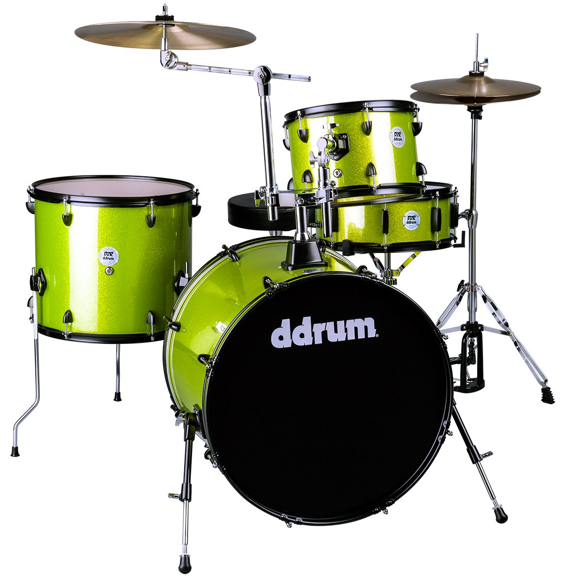 DDRUM D2 Rock Kit Lime Sparkle w/ Cymbals & Hardware