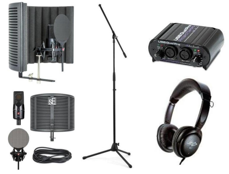 Se Electronics X1 S Studio Bundle+ with Microphone, Digital Interface, Mic Stand, Reflexion Filter, Shock Mount, Headphones, and Cable
