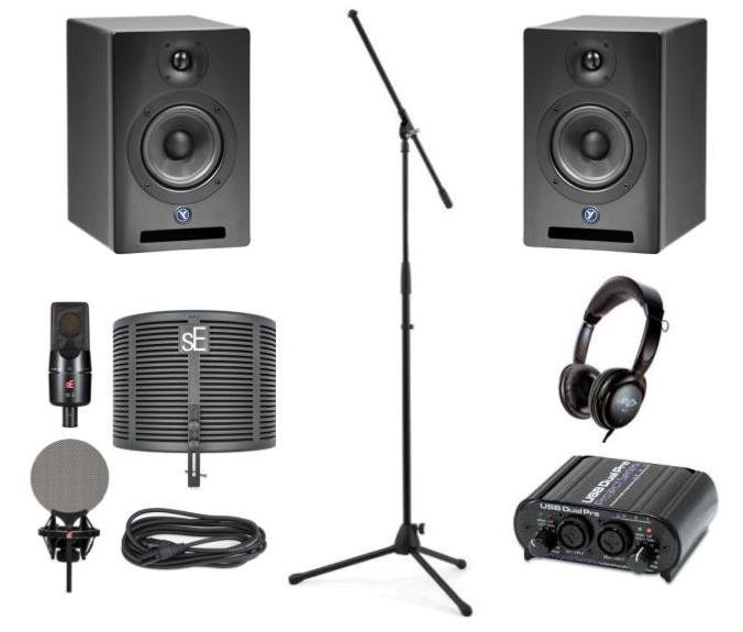 Se Electronics X1 S Studio Bundle+ with Microphone, Digital Interface, Studio Monitors, Mic Stand, Reflexion Filter, Shock Mount, Headphones, and Cable