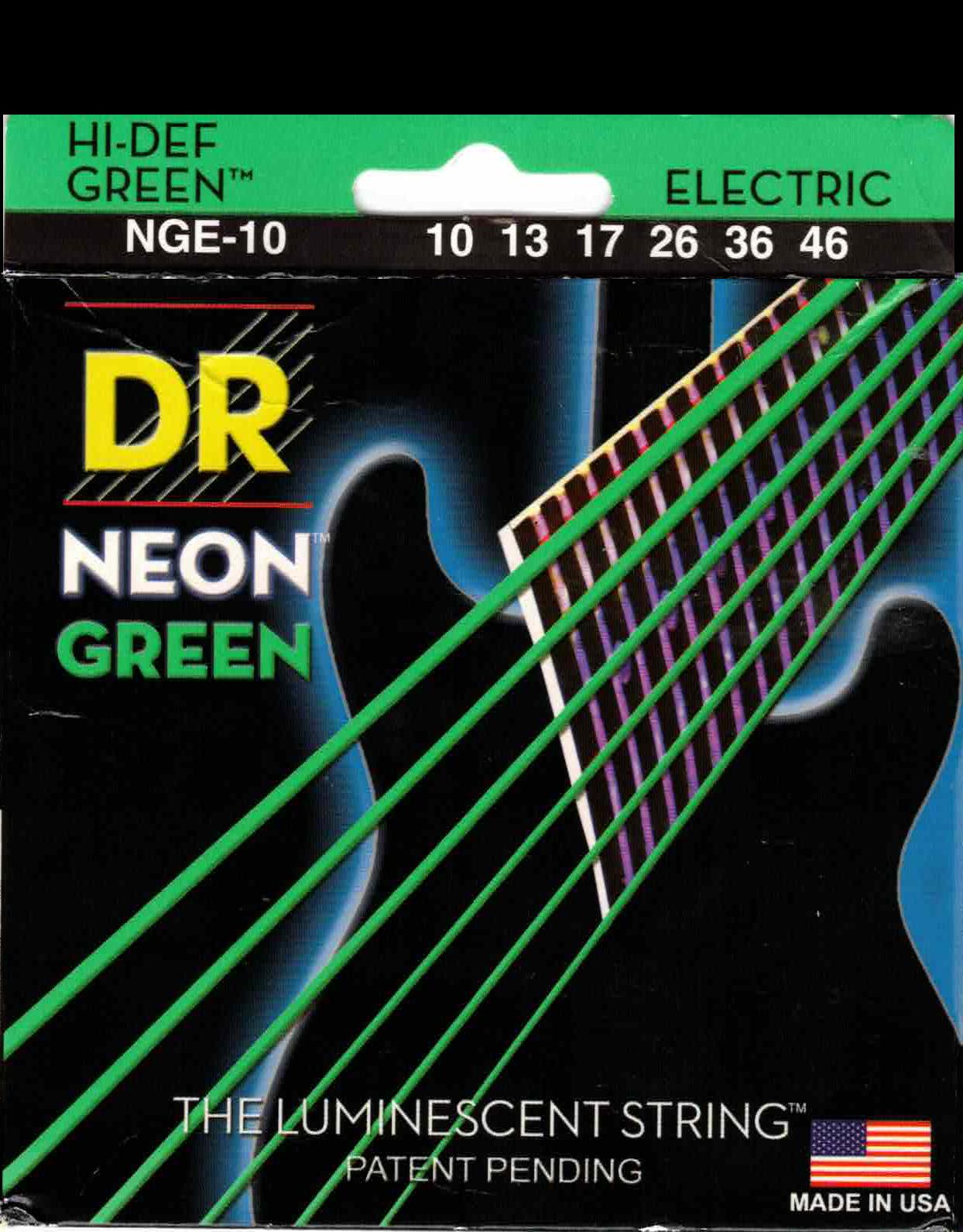 DR Hi-Def NEON GREEN Coated Electric Guitar Strings 10, 13, 17, 26, 36, 46