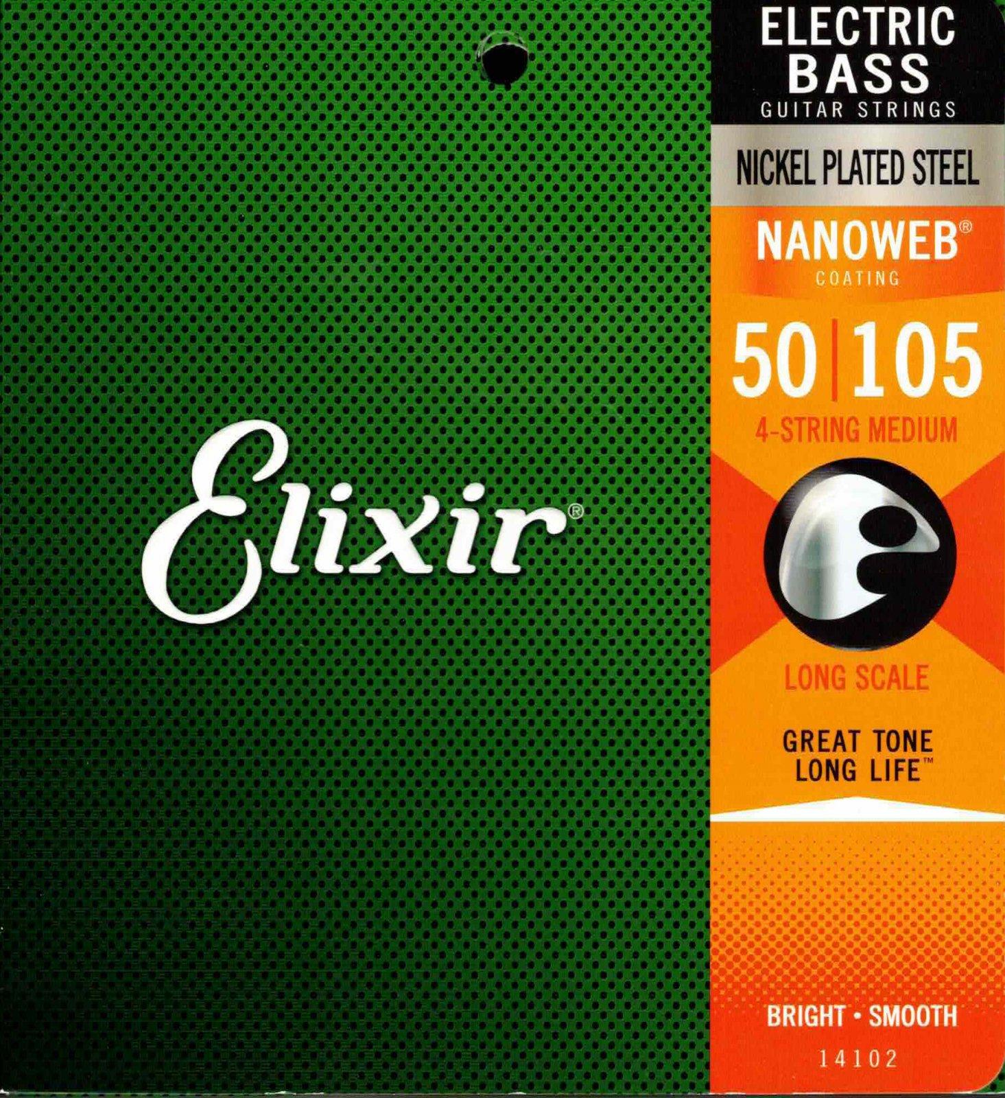 Elixir Nanoweb 14102 Medium Gauge 50-105 4-String Bass Guitar Strings