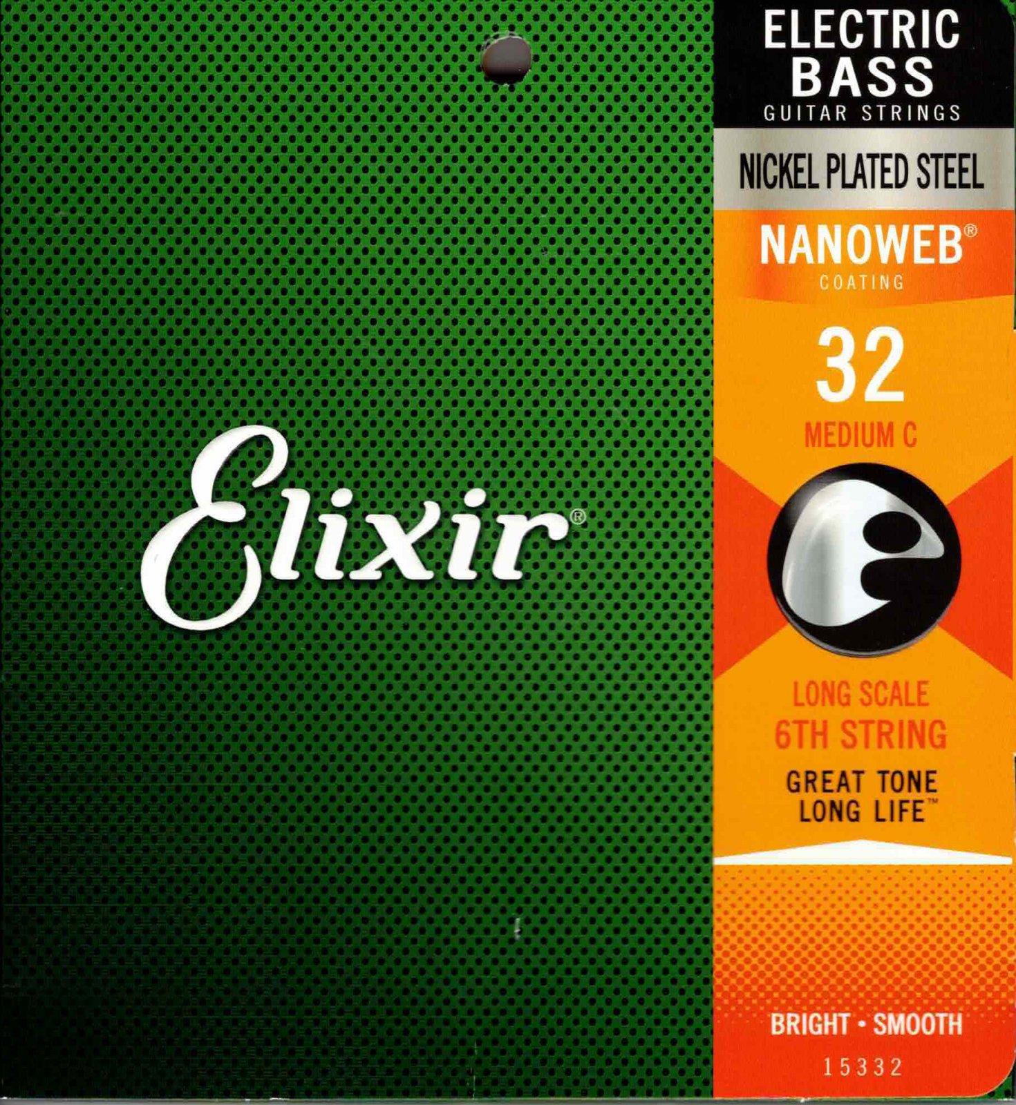 Elixir 15332 Nanoweb 32 Gauge Single Bass 6th String