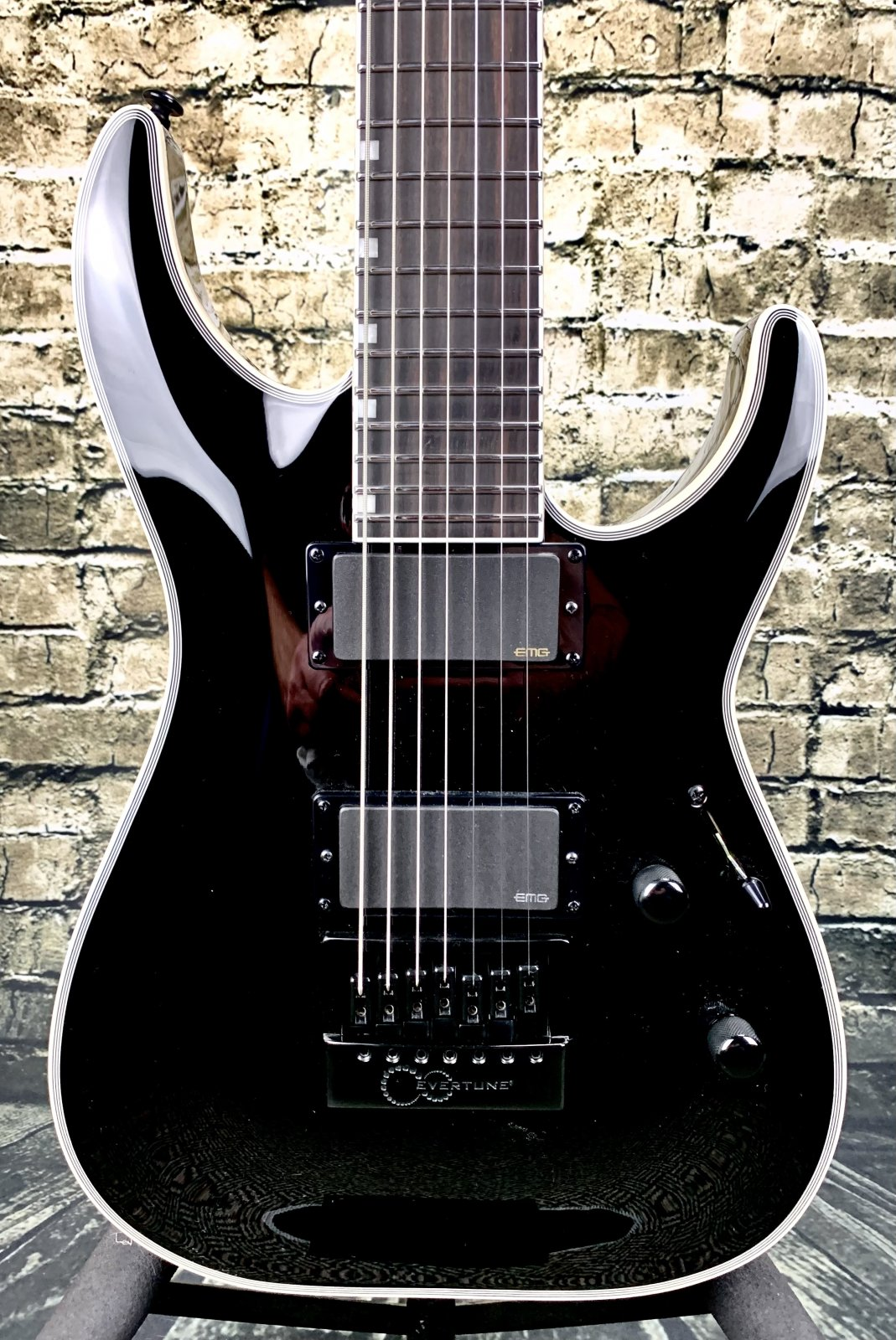 LTD MH-1007ET MH Series Evertune 7 String Electric Guitar - Black