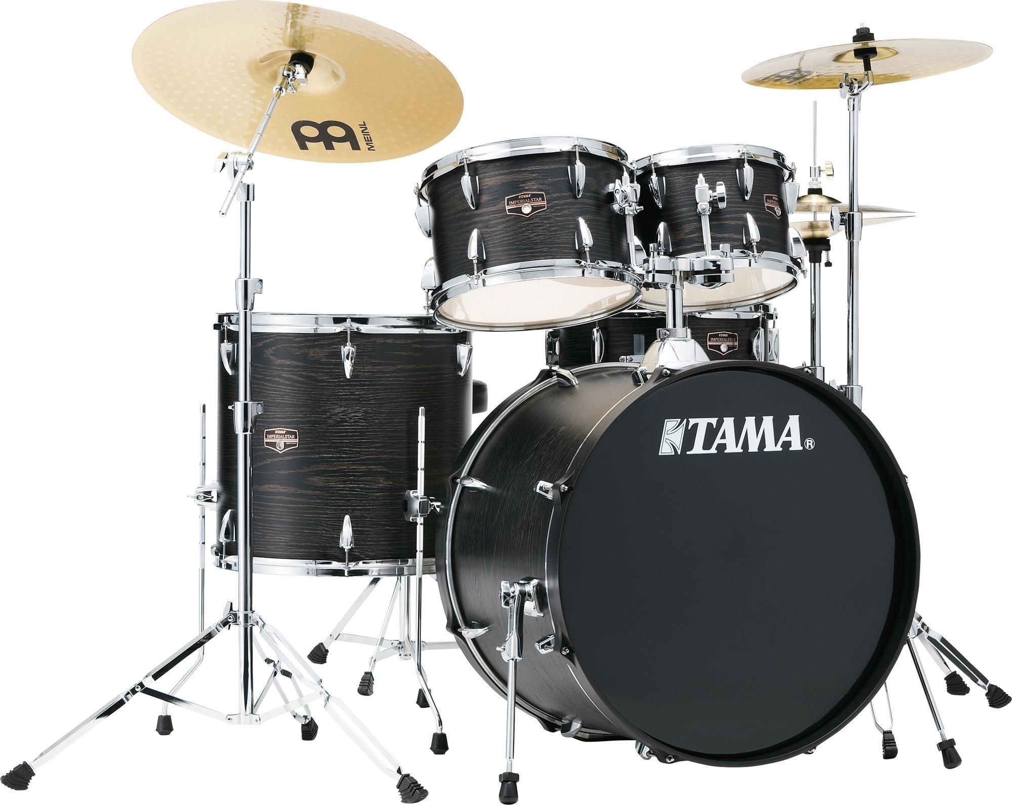 TAMA Imperialstar 5pc 22 BD Complete Kit Meinl HCS Cymbals - Black Oak Wrap finish