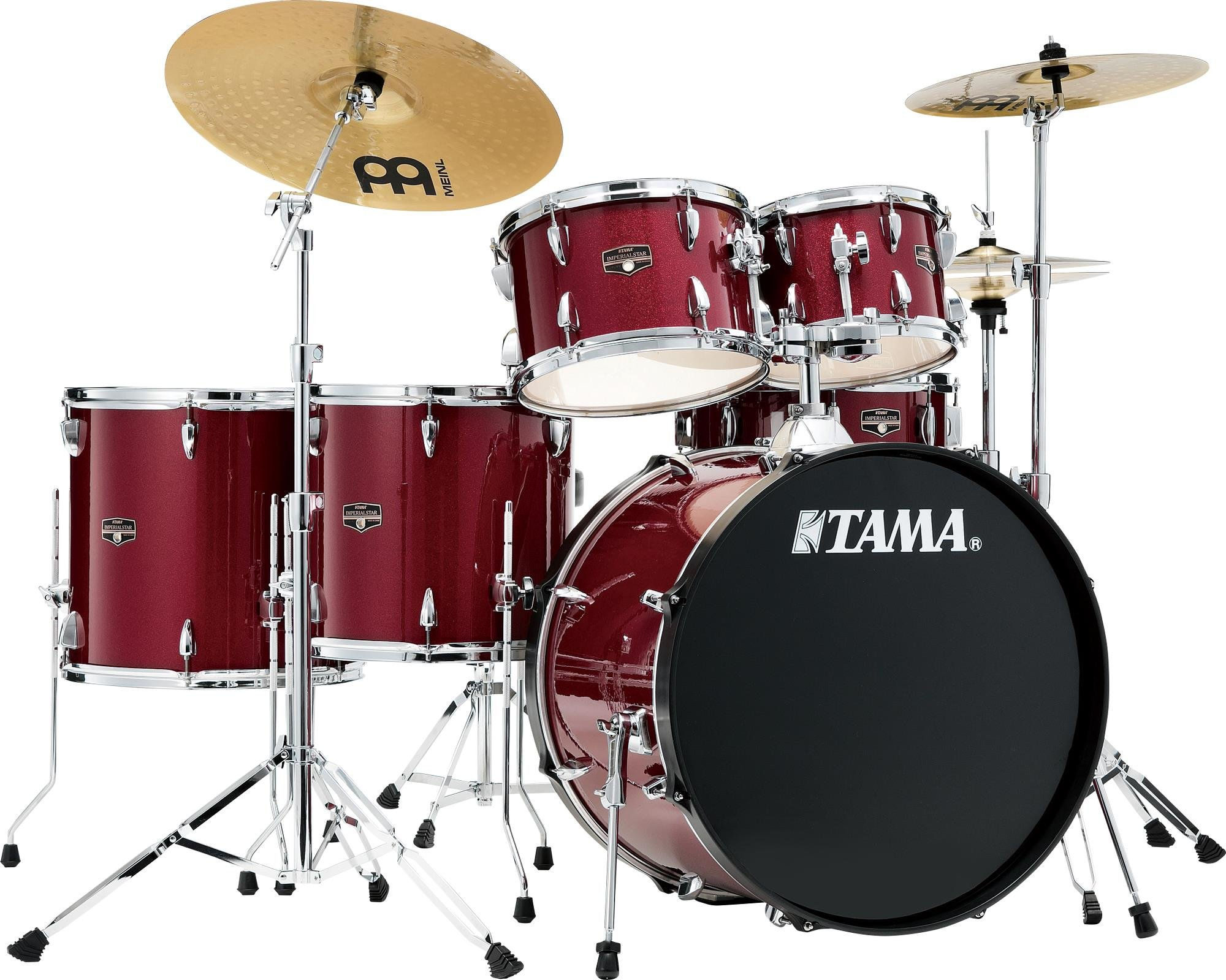 TAMA Imperialstar 6-Piece Complete Kit with Meinl HCS cymbals Candy Apple Mist