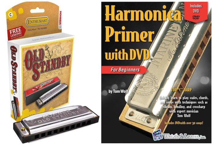 Hohner Old Standby Key of C Harmonica Gift Pack with Primer Book and DVD for Beginners