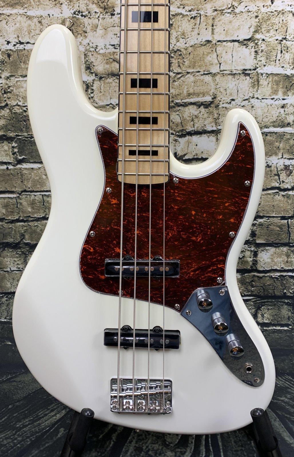 Austin AJB300WH Classic Double Cutaway Bass - White