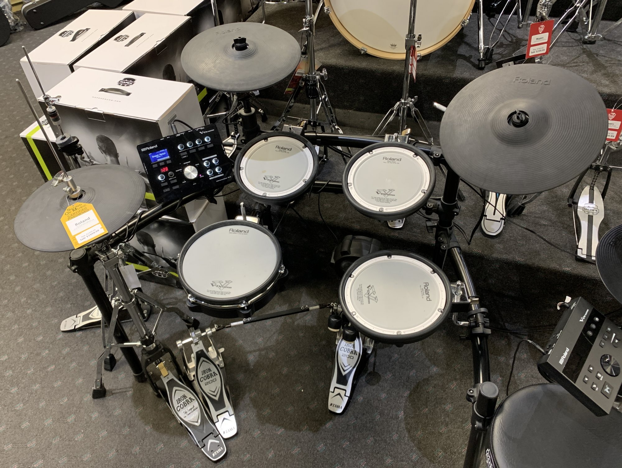 Used Roland TD-25K Electronic Drum Set w/ Hi-Hat Stand and Double Bass Pedal