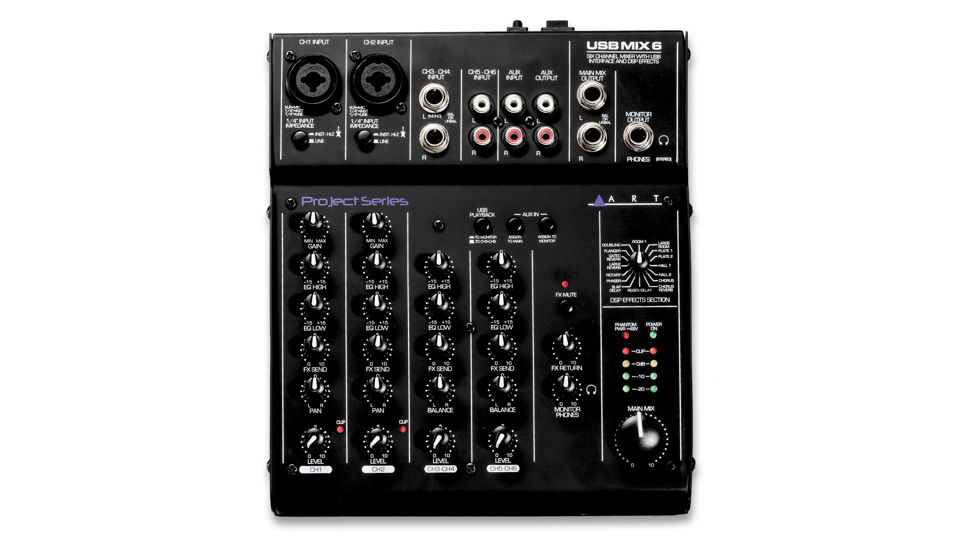 ART USB Mix 6 Six Channel Mixer With USB Interface & DSP Effects