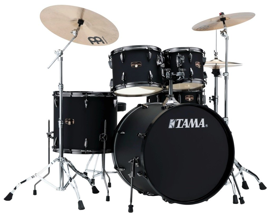 TAMA Imperialstar 5pc complete kit with Meinl HCS cymbals in Blacked Out Black finish + Black Nickel shell hardware