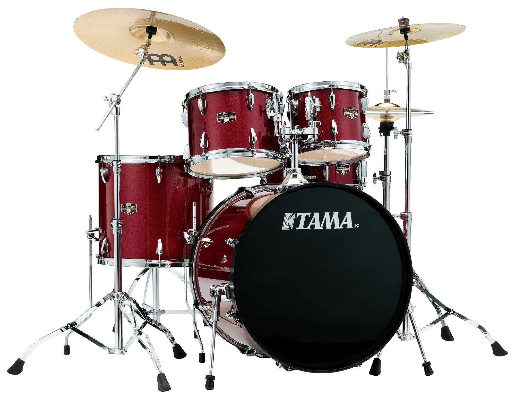 TAMA Imperialstar 5pc complete kit with Meinl HCS cymbals in Candy Apple Mist finish