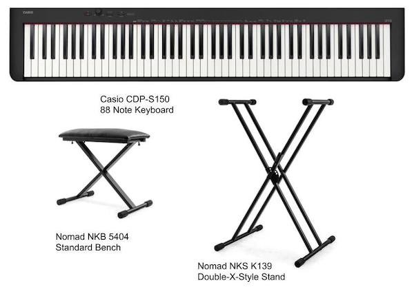 Casio CDP-S150 Portable 88-Note Digital Piano Package with Bench and Stand