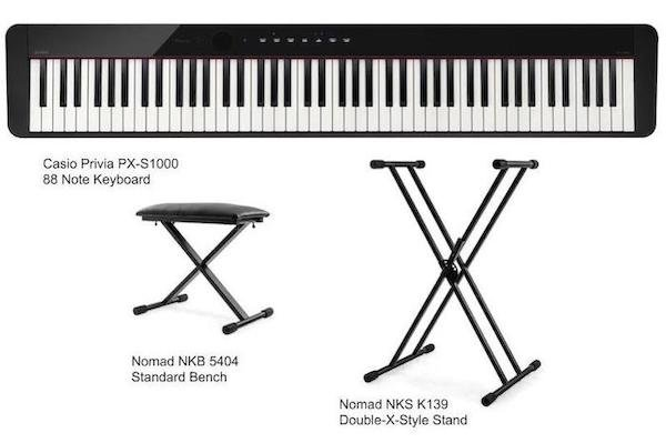 Casio Privia PX-S1000 Keyboard Package with Bench and Stand