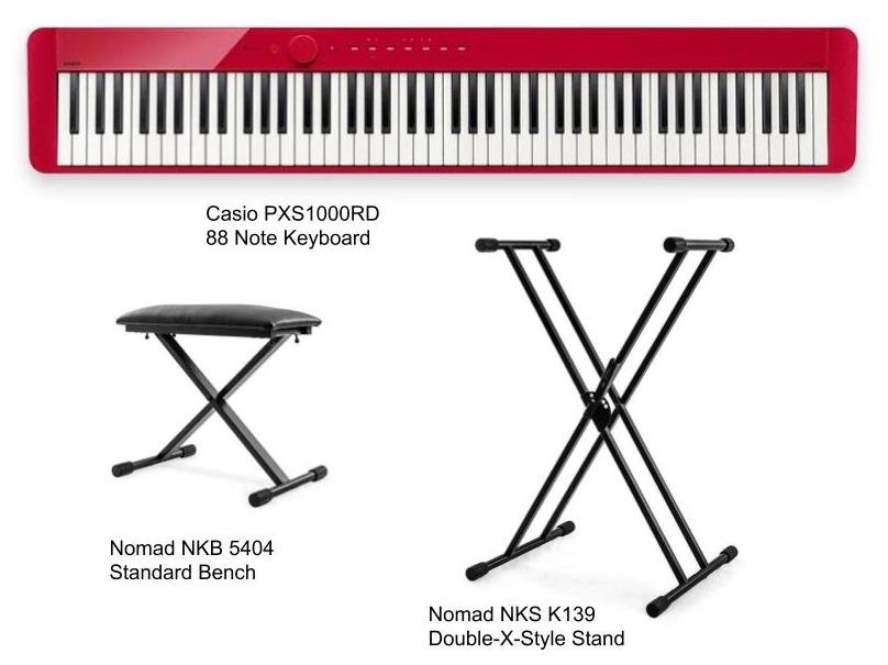 Casio Privia PX-S1000RD 88 Note Digital Piano - Red Package with Bench and Stand