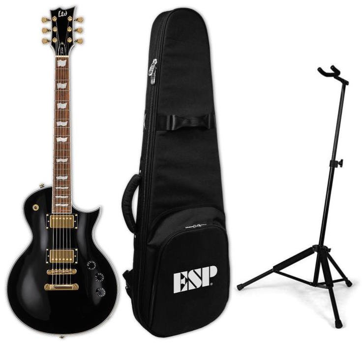 ESP/LTD EC-256 BLK Electric Guitar-Black Package with Guitar, Padded Gig Bag, and Guitar Stand