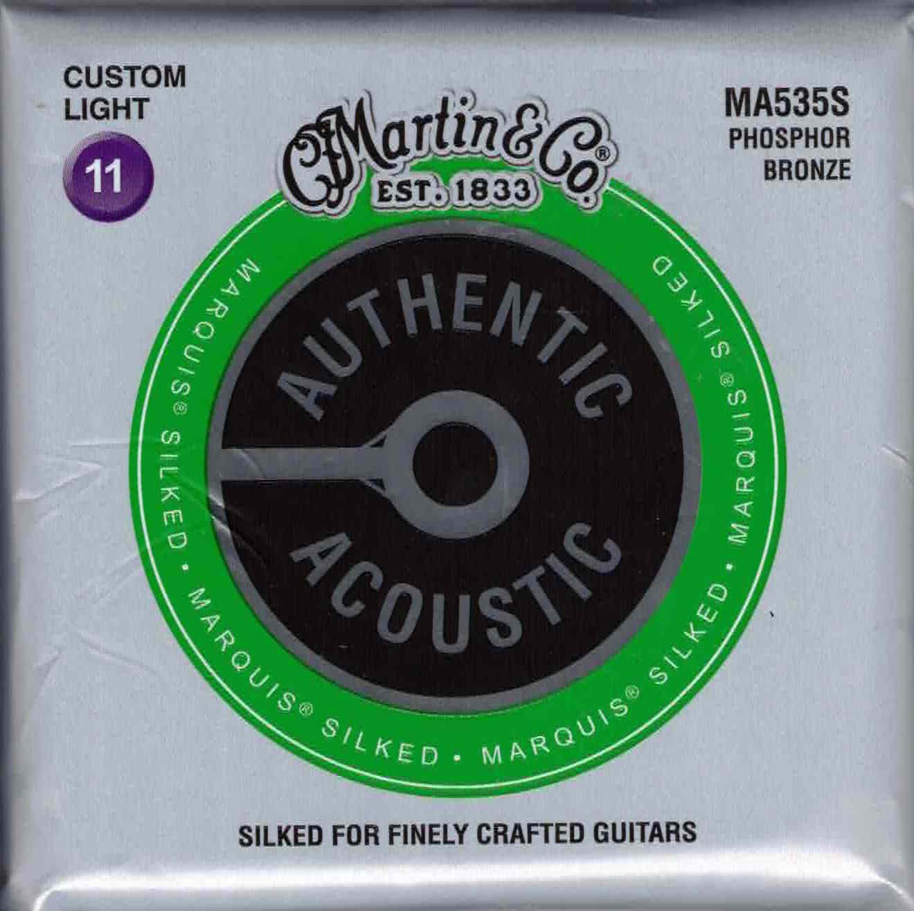 Martin MA535S Custom Light Phosphor Bronze Acoustic Guitar Strings