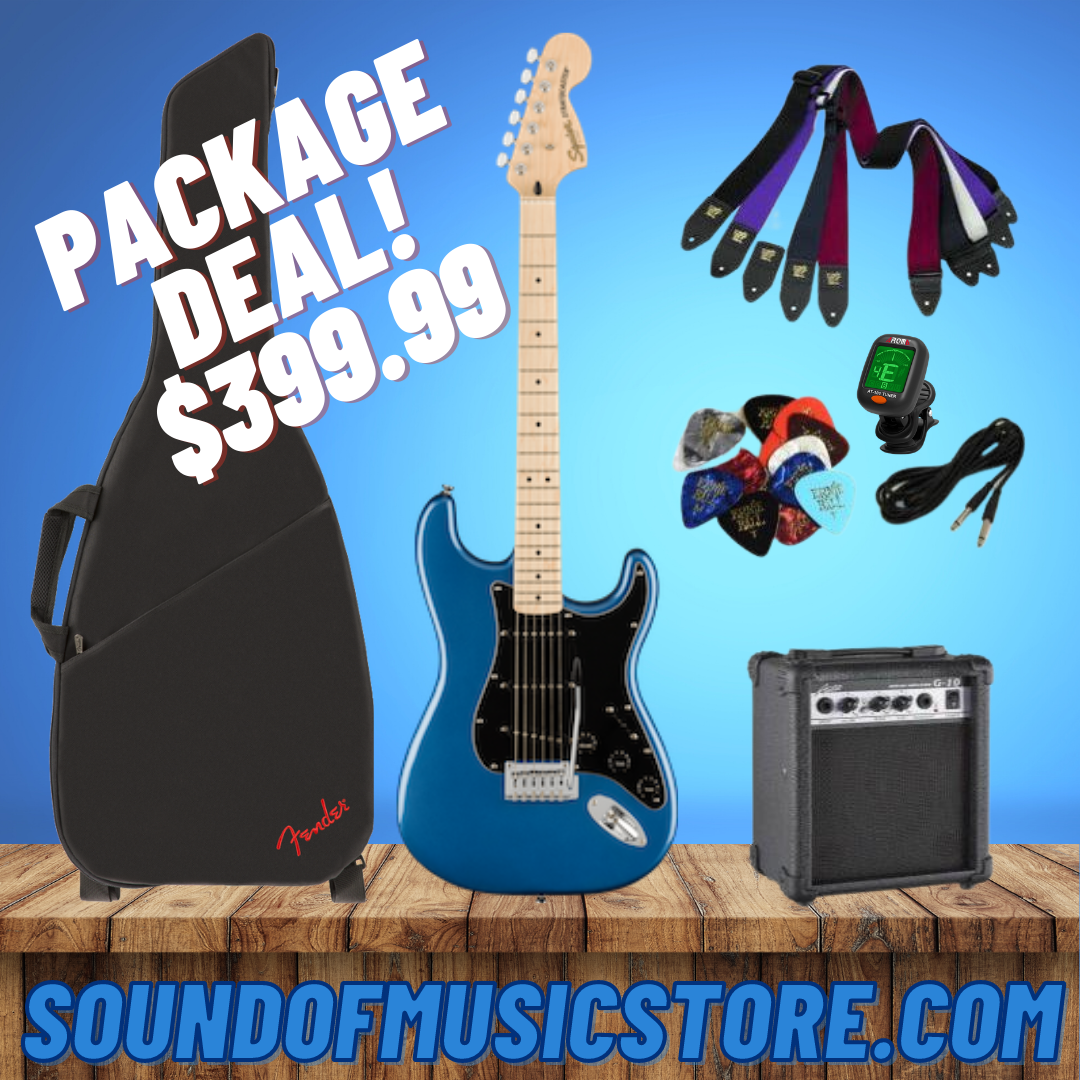 Fender Affinity Series Stratocaster, Maple Fingerboard, Black Pickguard, Lake Placid Blue Package Deal With Guitar, Amp, Cable, Tuner, Strap, and Picks