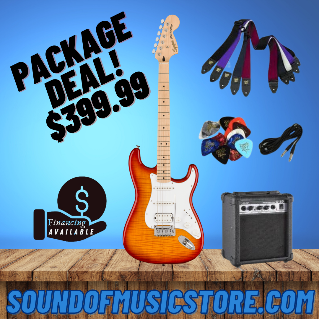 Squier Affinity Series Stratocaster FMT HSS - Sienna Sunburst Package Deal With Amplifier, Cable, Strap, and Picks
