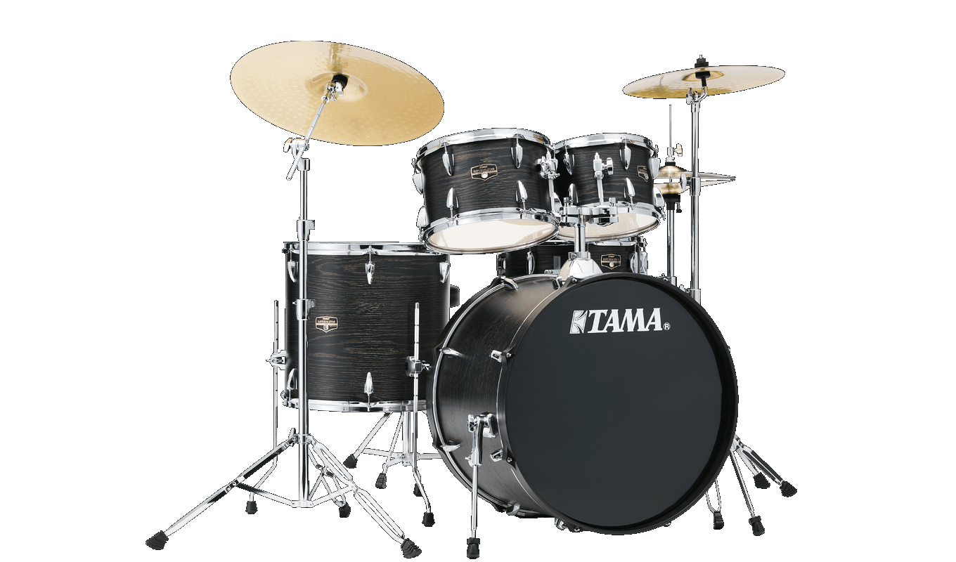 Tama Limited Edition Imperialstar 6pc. Drum Set w/ Hardware and Meinl HCS Cymbals - Black Oak Wrap
