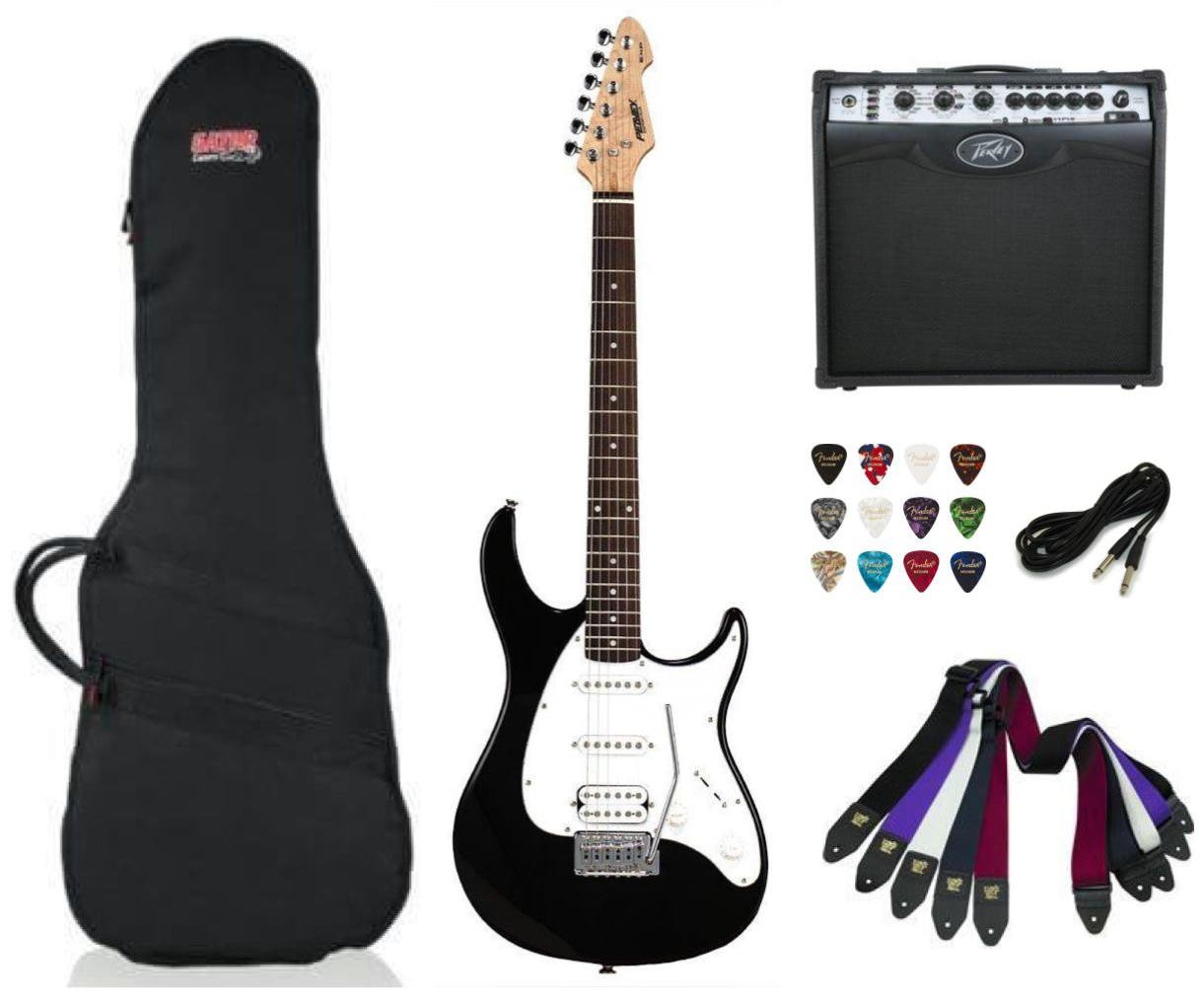 Peavey Raptor Plus Electric Guitar SSH - Black Package Deal with Amplifier, Gig Bag, Cable, Straps and Picks