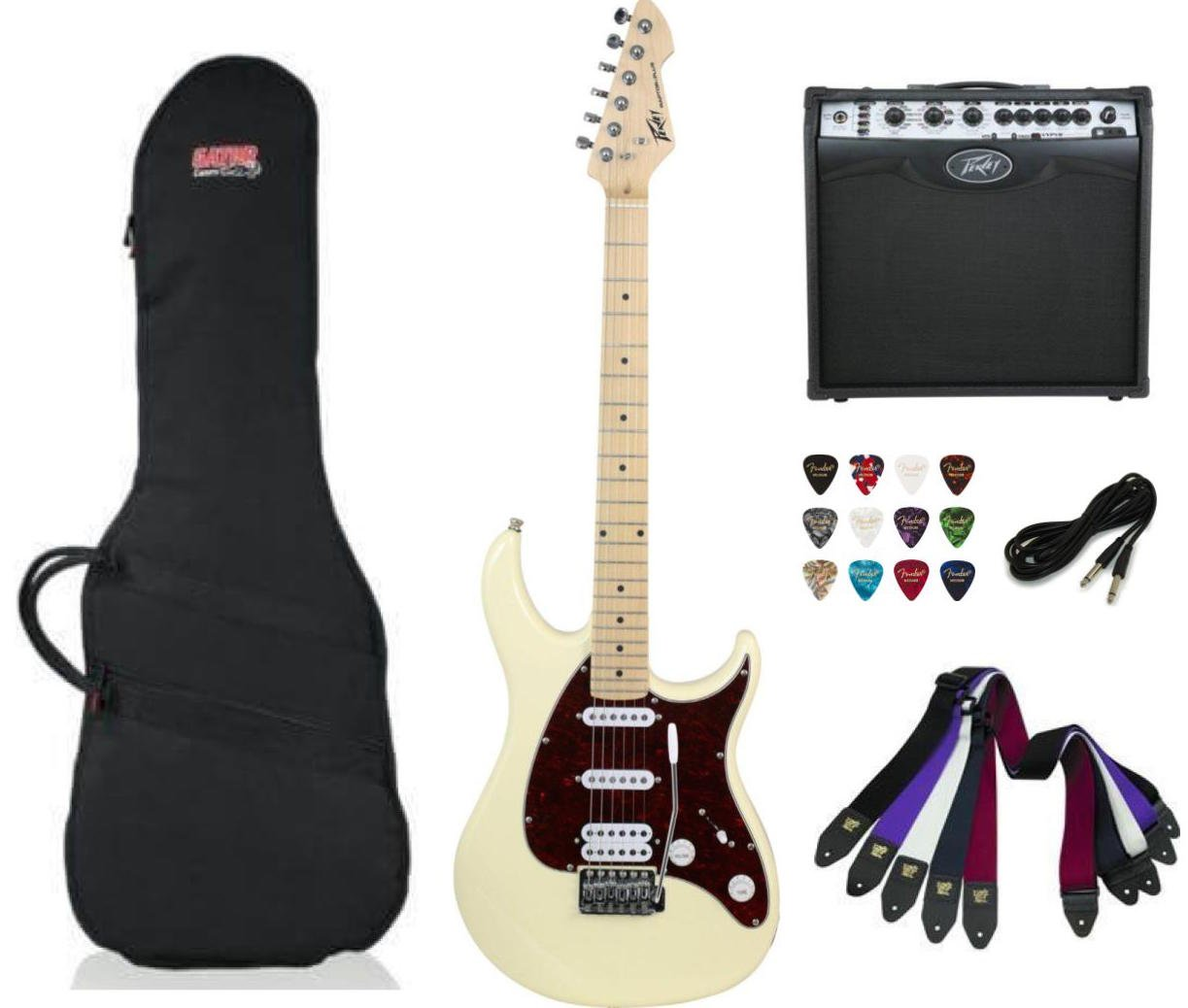 Peavey Raptor Plus Electric Guitar SSH - Ivory Package Deal with Amplifier, Gig Bag, Cable, Straps and Picks
