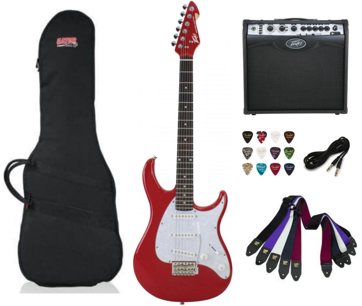 Peavey Raptor Custom Electric Guitar SSS - Red Package Deal with Amplifier, Gig Bag, Cable, Straps and Picks