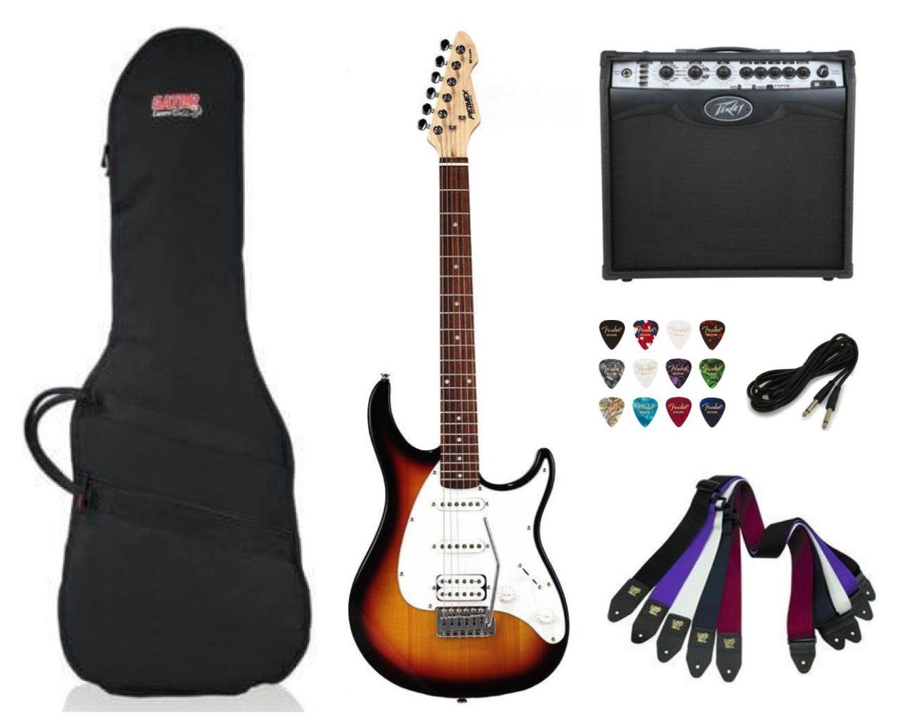 Peavey Raptor Plus Electric Guitar SSH - Sunburst Package Deal with Amplifier, Gig Bag, Cable, Straps and Picks