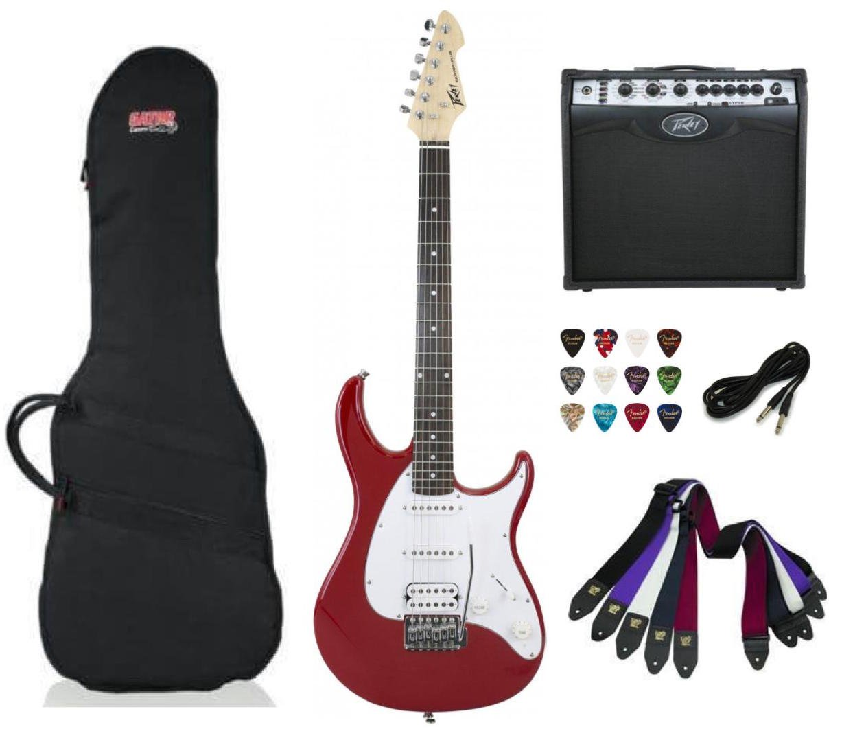 Peavey Raptor Plus Electric Guitar SSH - Red Package Deal with Amplifier, Gig Bag, Cable, Straps and Picks