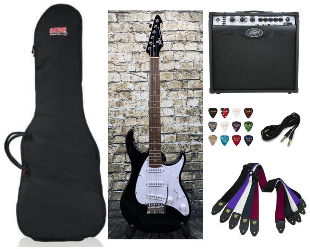 Peavey Raptor Custom Electric Guitar SSS - Black Package Deal with Amplifier, Gig Bag, Cable, Straps and Picks