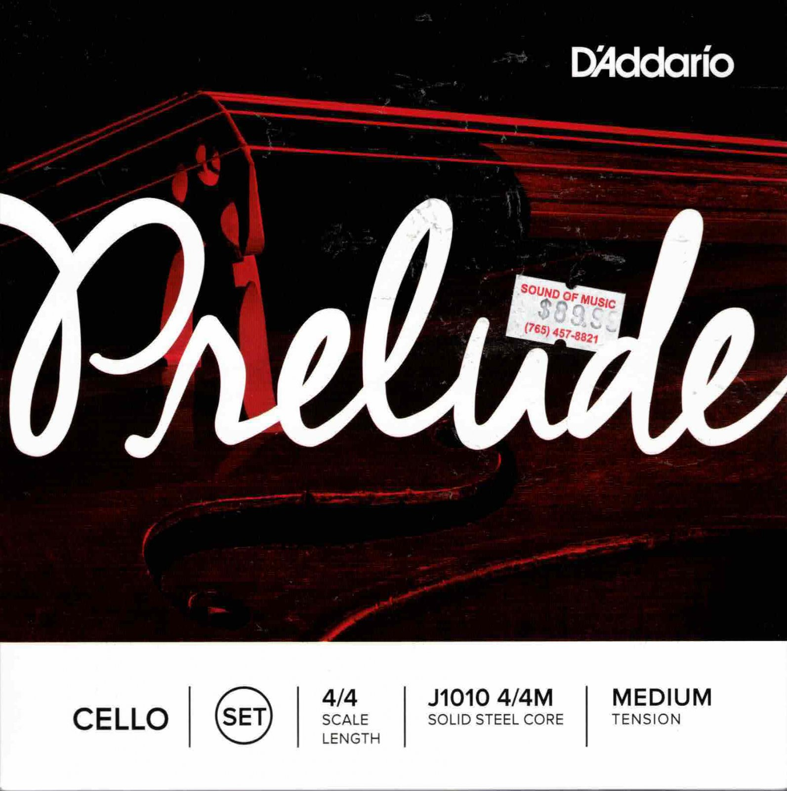 D'addario Prelude Cello 4/4 Medium Tension Solid Steel Core
