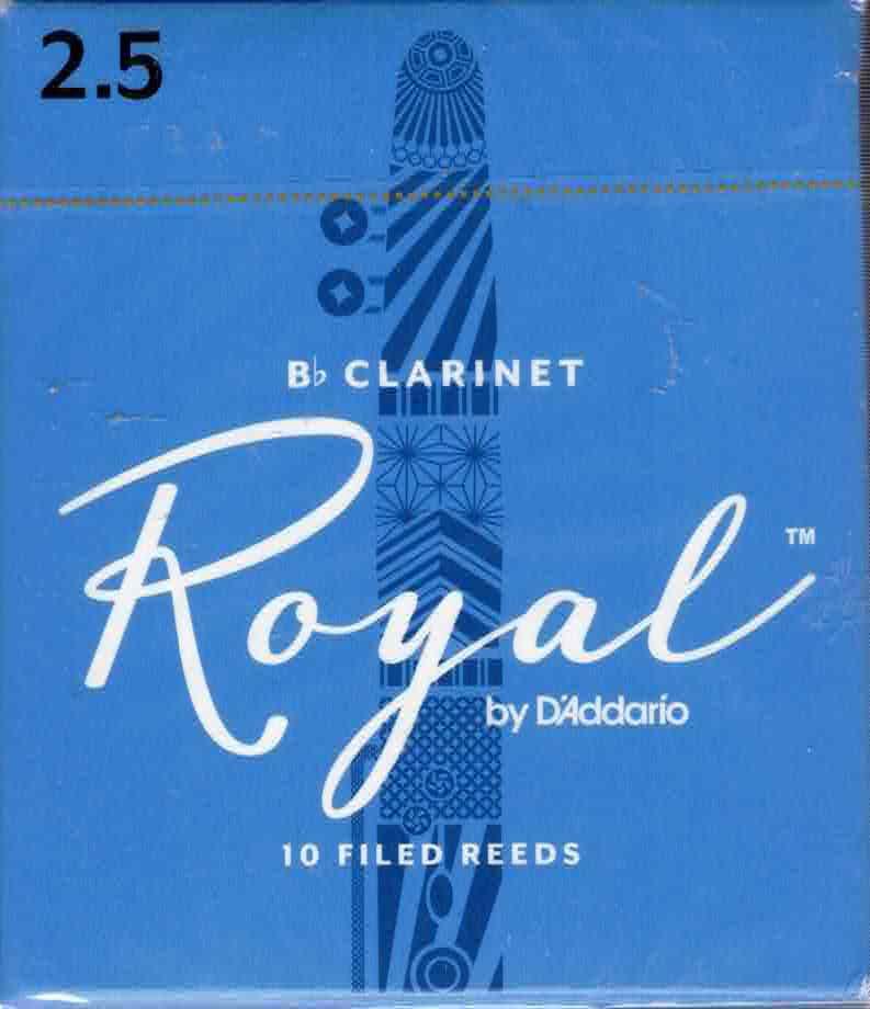 Rico Royal Bb Clarinet Reeds Box of 10(2.5 Strength)