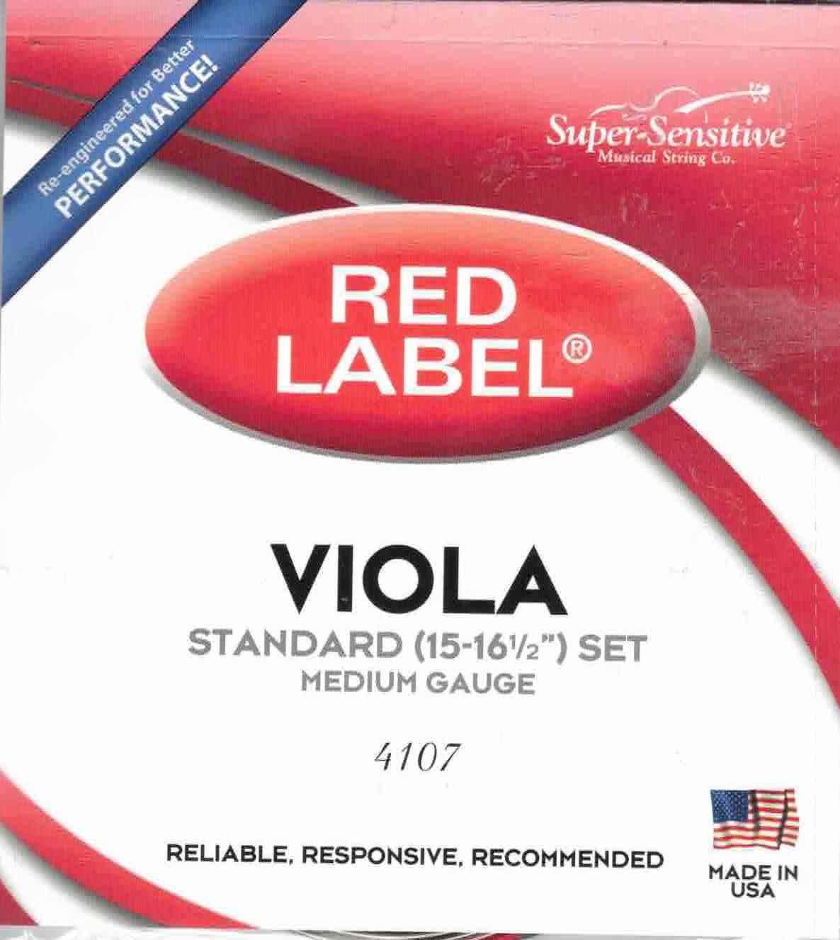 Super Sensitive Medium Tone Viola String Set, 4/4