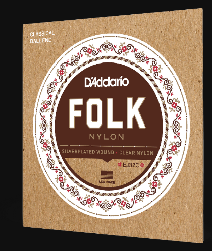 D'Addario EJ32C Folk Nylon Classical Ball End Strings