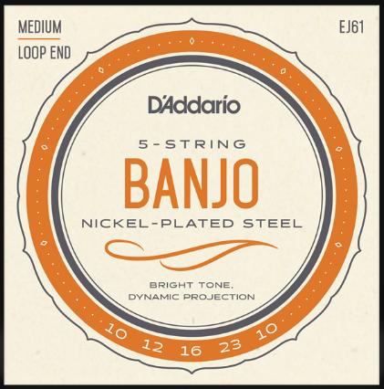 D'Addario Medium Loop End Banjo 5-String Banjo Strings