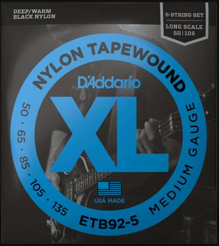 D'Addario ETB92-5 5-String Nylon Tapewound Bass Strings 50-135