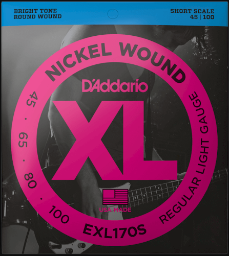 D'Addario EXL170S Short Scale 4 String Bass Guitar Strings  45-100
