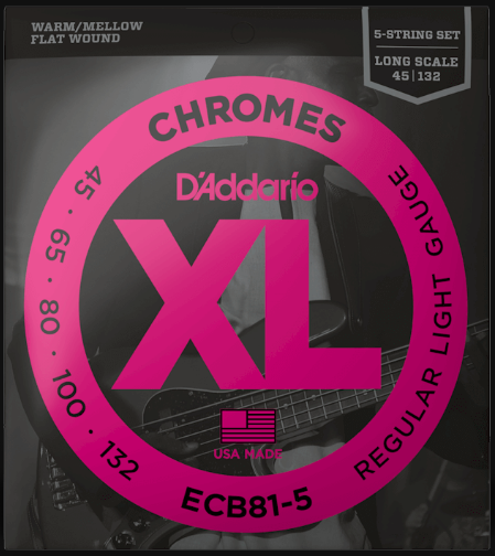 D'Addario ECB81-5 Chromes 5-String Flatwound Bass Guitar Strings 45-132