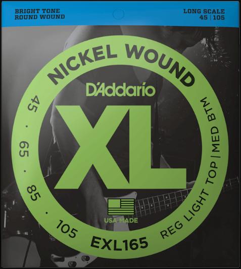 D'Addario EXL165 45-105 Light Top/Medium Bottom 4-String Bass Strings