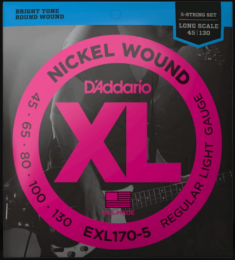 D'Addario EXL170-5 Long Scale 5-String Bass Strings
