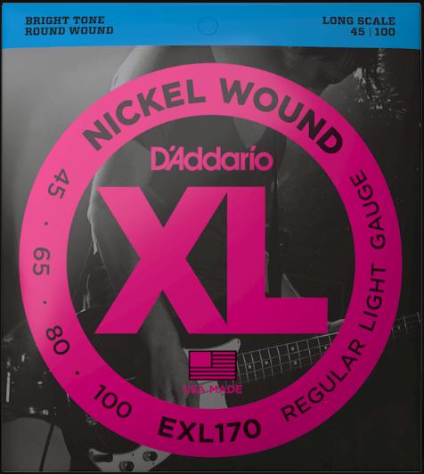 D'Addario EXL170 45-100 Long Scale 4-String Bass Strings